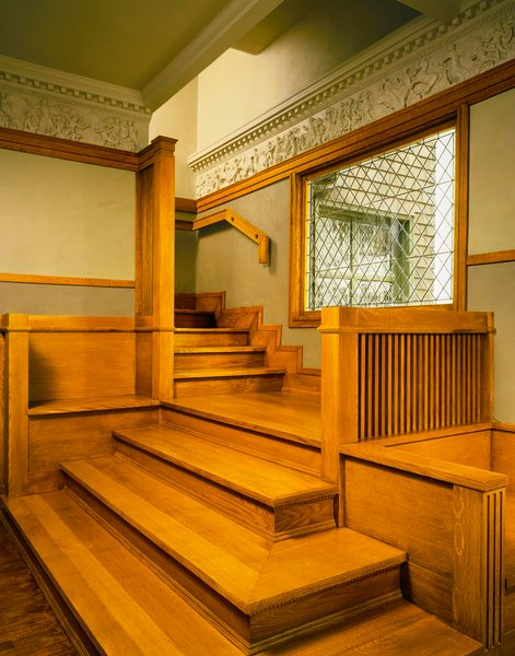 Attractive Wright House, Oak Park, Illinois, United States Of America, Frank Lloyd  Wright, 1889 1909, Interior Of Stair Hall, Jon Miller © Hedrich Blessing